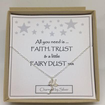 Sterling Silver Fairy Charm Necklac..