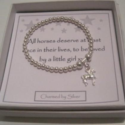 Sterling Silver Horse Charm Stretch..