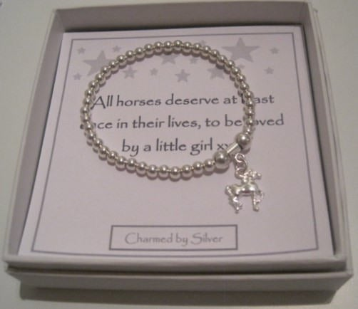 Sterling Silver Horse Charm Stretch Bead Bracelet - a perfect gift for a horse lover