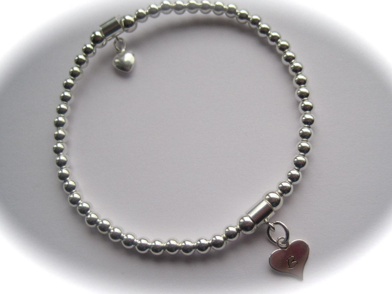 Bridesmaid Sterling Silver puffed heart and stamped heart stretch bead Bracelet