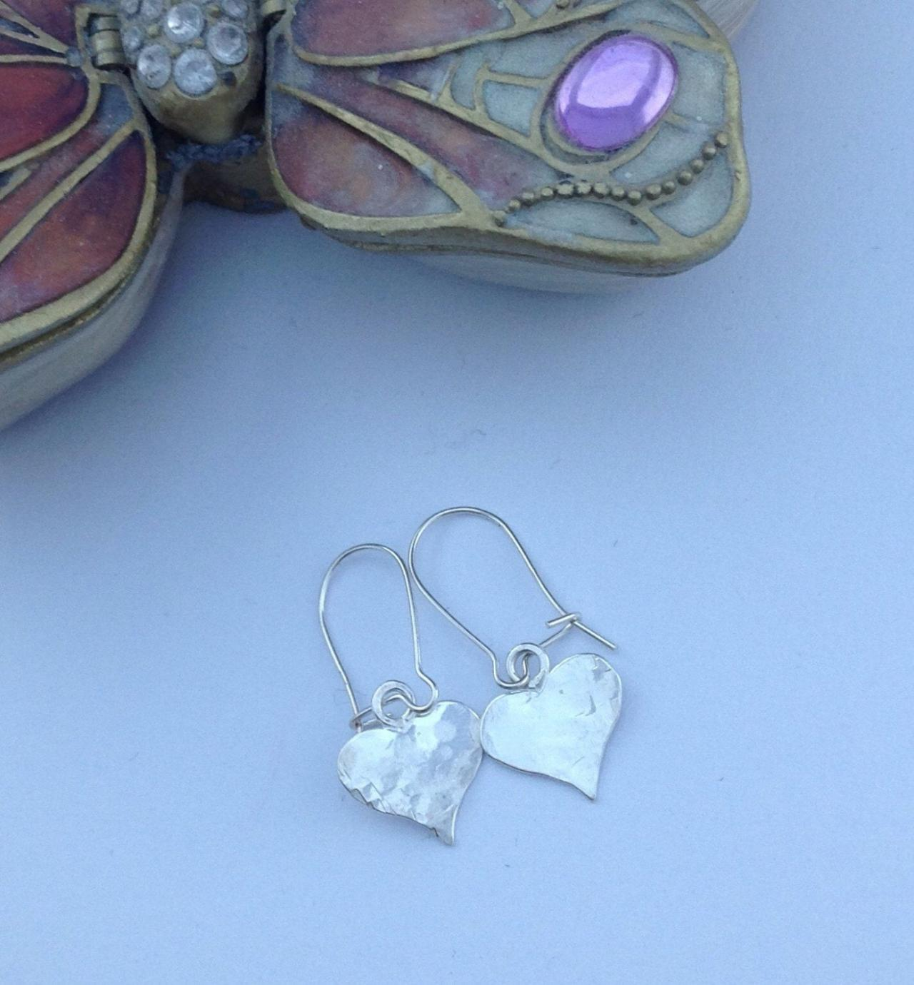 Sterling Silver Hand Stamped Heart Earrings