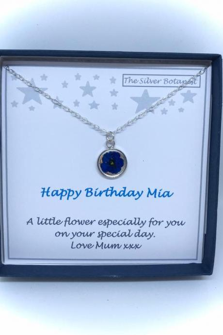 Sterling silver blue flower necklace with add your own birthday message