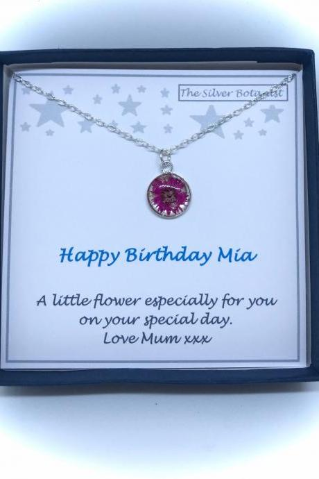 Sterling silver flower necklace with add your own birthday message