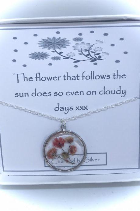 A Scent of Spring - a Sterling silver peachy flower necklace