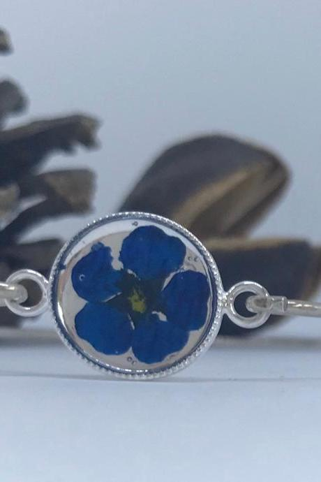 Bright blue for you - a Sterling silver flower bangle