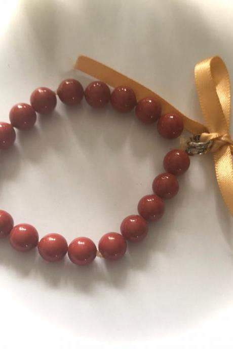 SALE - Beautiful ceramic deep coral dark red bracelet
