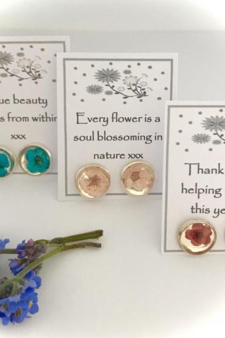 Set of 3 dried flower stud earrings (choose your colour) with a message