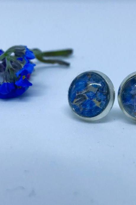 Memories of Flowers - spray of forget-me-not flower earrings with a beautiful message