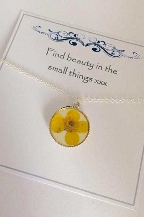 Memories of Buttercups in the Garden - a real dainty buttercup Memory Sterling Silver Necklace