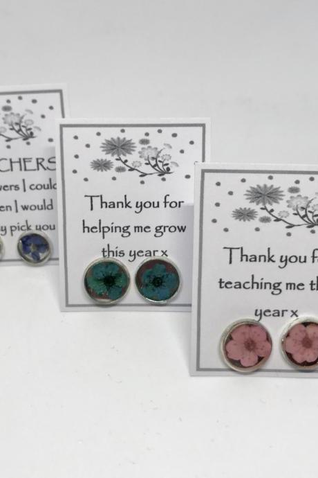 Teacher dried flower earrings 'Thank you for helping me grow this year x'