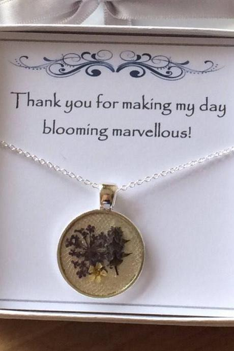 Bridal Thank You Nature Necklace - a dried flower Memory Necklace (co-ordinate with your bouquet )