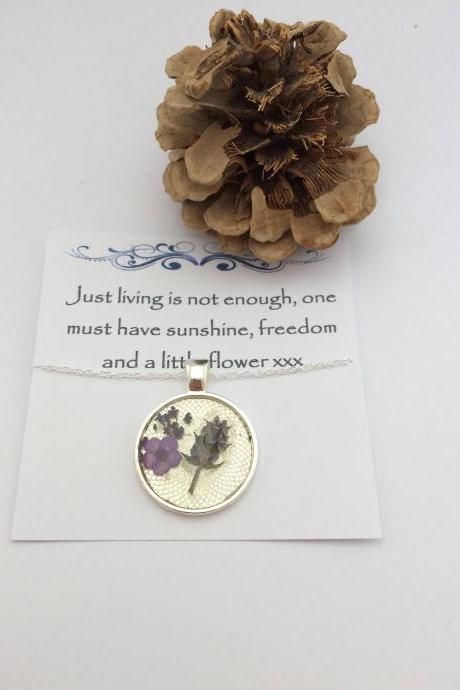 Memories of Flowers - a dried flower Memory Necklace with a beautiful message
