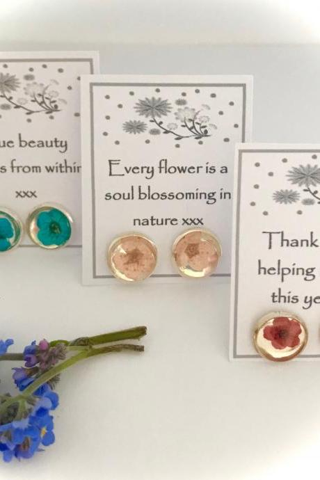 Available for immediate despatch - dried flower earrings with a message
