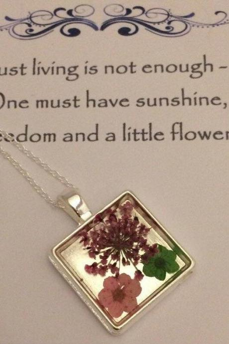 Memories of Flowers - a bright dried flower Memory Necklace with a flower message