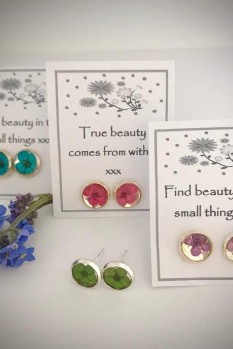 Memories of Flowers - dried flower earrings with a beautiful message