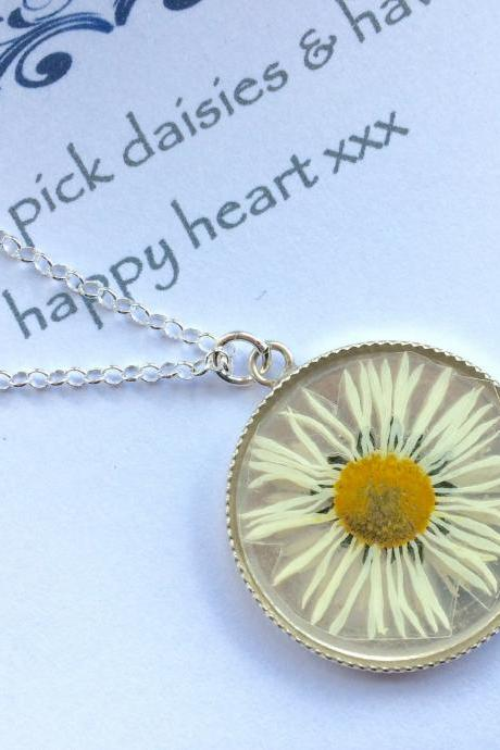 A real daisy Sterling Silver Necklace - memories of a Summer garden