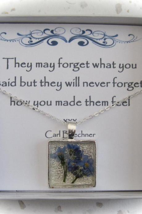 Memories of Forget me Nots - a real forget-me-not Memory Necklace, a perfect present (see message)