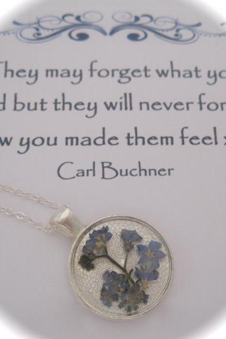 Memories of forget-me-nots in the Garden - a real dainty flower Memory Necklace