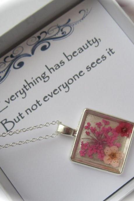 Memories of Flowers - a bright pink and white dried flower Memory Necklace with a beautiful message