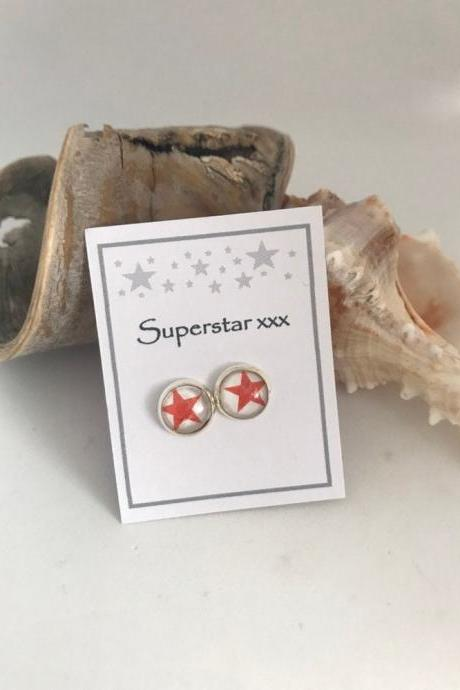 Available for immediate despatch Converse All Star Inspired Round Red Star Message Earrings