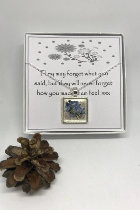 Teacher thank you gift - a real forget-me-not flower Necklace