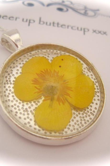 Memories of Buttercups in the Garden - a real buttercup Memory Necklace