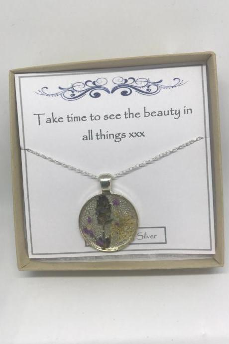 Memories of Flowers - a dried lavender and cream flower Memory Necklace