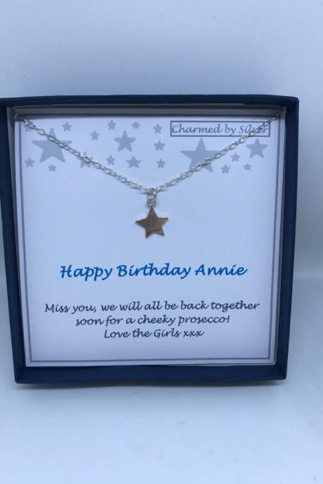 Birthday Sterling Silver Star Necklace with add your own message