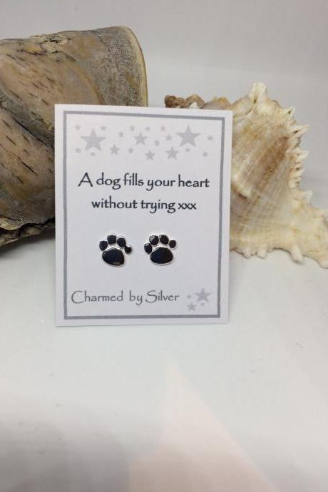 Sterling Silver dog paw print stud Earrings with message