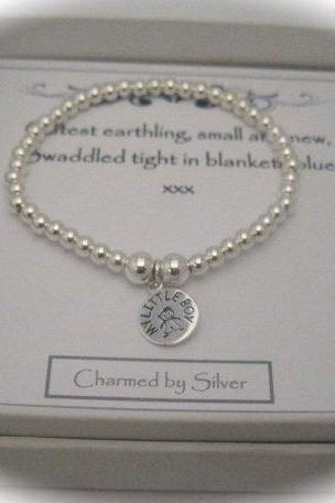 Sterling Silver Mummy Little Boy Charm Stretch Bead Bracelet - a perfect gift for a new Mom