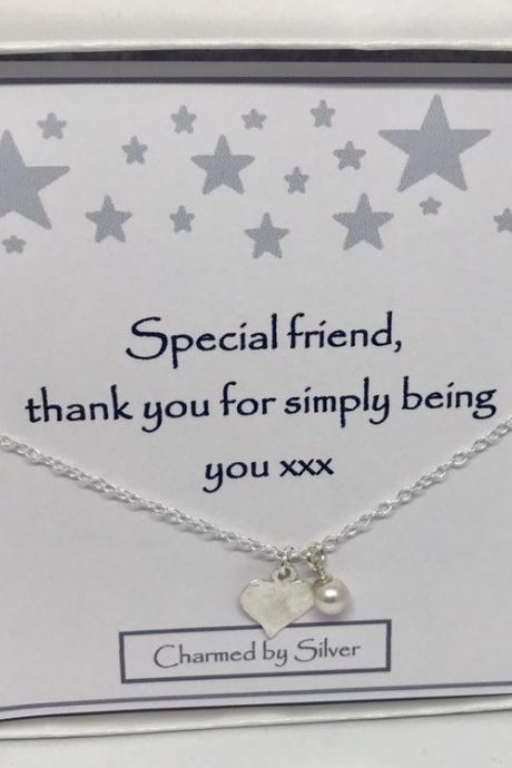 A Special Friend - A Sterling Silver Freshwater Pearl & Hammered Heart Necklace