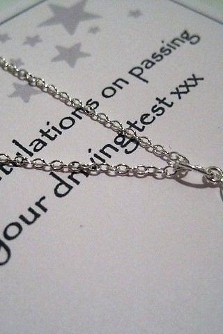 Sterling Silver Car Charm Necklace - congratulations for passing your test