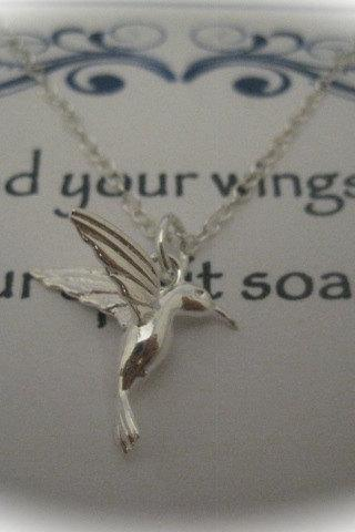 Sterling Silver Hummingbird Charm Necklace with a message