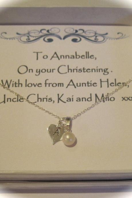 Christening Sterling Silver Hand Stamped Freshwater Pearl & Initial Heart Gift Box Necklace