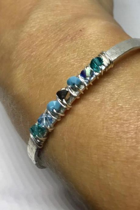 Sterling Silver Bohemian Swarovski Turquoise Crystal Cuff Bangle