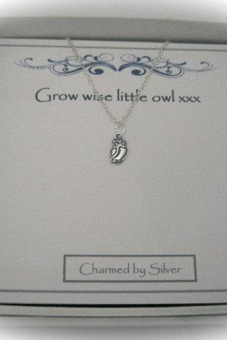 Sterling Silver Owl Charm Necklace with a message