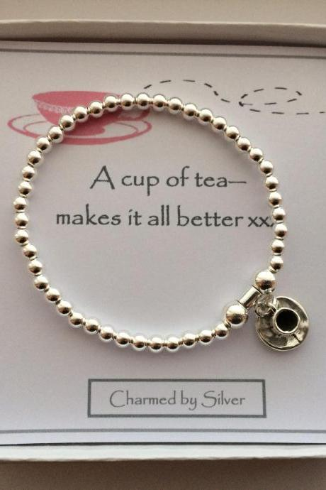 Sterling Silver Teacup Charm stretch bead Bracelet - a perfect gift for a tea lover
