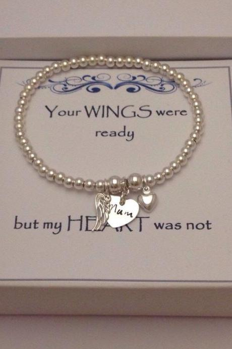 Keepsake Remembrance Sterling Silver Bead Heart & Angel Wing Bracelet Mum