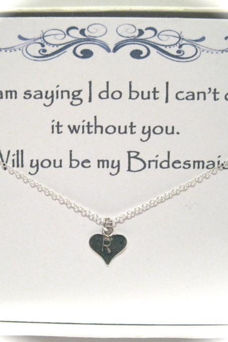 Bridesmaid Sterling Silver Hand Stamped Initial Heart Necklace