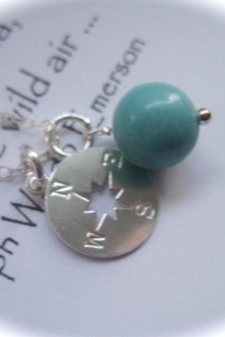 Sterling Silver Compass Charm and Turquoise Gemstone Necklace