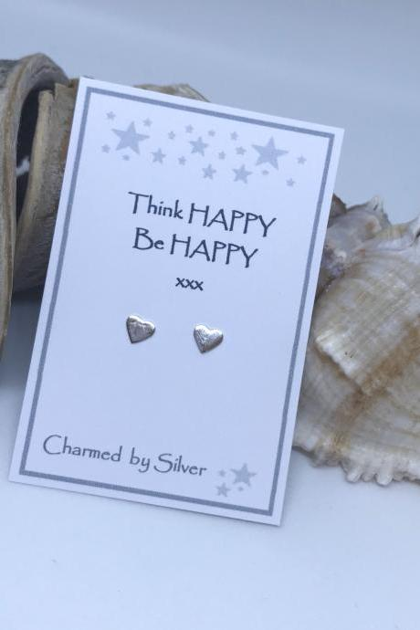 Sterling Silver Heart Earrings with a Happy Message