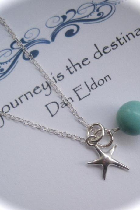 Sterling Silver Starfish Charm and Turquoise Gemstone Necklace Journey Travel
