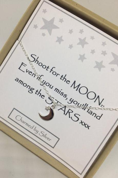 Sterling Silver Moon & Star Charm Necklace - a perfect gift - Shoot for the Moon message