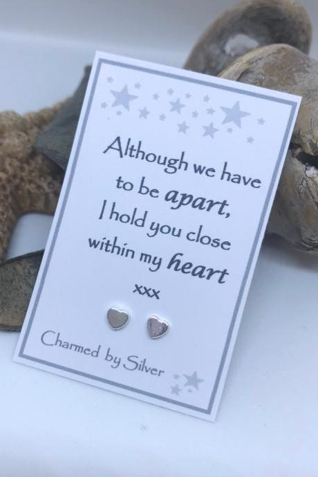 Although we have to be apart, I hold you close within my heart - Sterling silver earrings