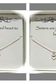 Two Sterling Silver Hearts Initial Necklace 'Sisters are joined heart to heart' in matching gift boxes