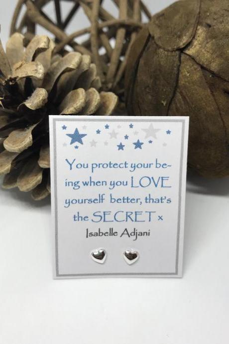 You protect your being when you love yourself better - Sterling Silver star or heart stud Earrings
