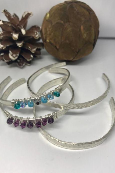 Sterling Silver Bohemian Swarovski Choose your Colour Crystal Cuff Bangle