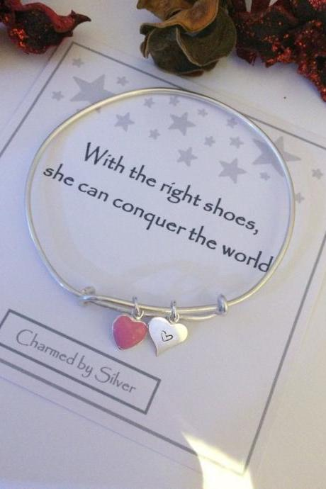 Sterling Silver Duo Heart Charm Extendable Bangle - you are my world
