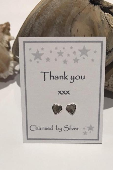 Sterling Silver Heart stud Earrings with Thank you message
