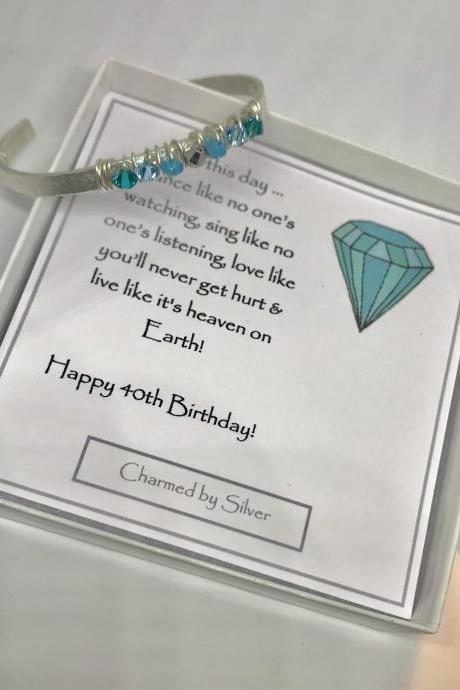 Sterling Silver Bohemian Swarovski Shades of Blue Crystal Cuff Bangle with Birthday Message